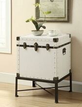 902819 White with black accents finish trunk style chair side accent table with metal base