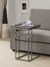 902864 Wrought studio decastro weathered grey top and black finish legs snack chair side end table