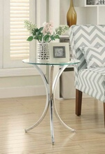 902869 Chrome metal finish chair side round end table with glass top