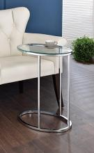 902927 Orren ellis boatwright chrome metal finish and oval tempered glass top side table