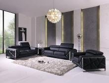 903BL-2PC 2 pc Orren ellis luigi black italian leather sofa and love seat set