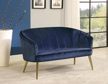 903033 Mercer 41 blue velvet fabric love seat settee with gold tone legs