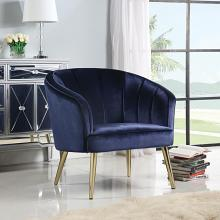 903034 Everly quinn jasiah blue velvet fabric brass metal finish frame retro style barrel back chair