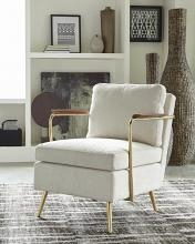 903841 Brayden studio tomaso brass metal beige fabric mid century modern accent chair