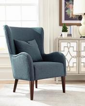 903963 Longshore tides clinton dark teal velvet fabric high wing back chair