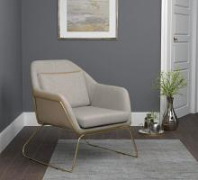 903981 Ivy bronx comanche beige leatherette beige fabric inside retro style accent chair