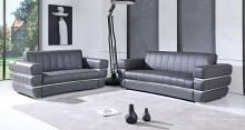 904GY-2PC 2 pc Orren ellis monza gray italian leather sofa and love seat set