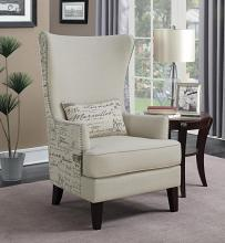 904047 Ophelia & Co waldschmidt french script print cream velvet fabric high wing back chair