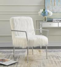 904079 Mercer 41 bladwell white faux sheep fabric chrome metal finish frame retro style accent chair
