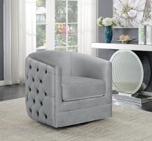 904087 Everly quinn cohassel grey velvet fabric barrel shaped accent side chair with swivel base