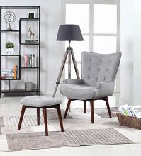 904119 Brayden studio tonquin mid century modern grey linen like fabric arm chair and ottoman
