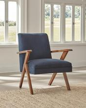 905415 Mercury row conkling walnut finish wood dark blue fabric mid century modern accent chair