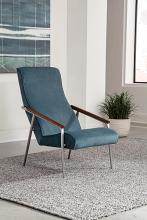 905425 Corrigan studio ramirez brushed nickel teal velvet fabric mid century modern accent chair