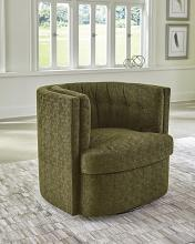 905437 Latitude run langley moss green chenille fabric barrel shaped accent side chair with swivel base