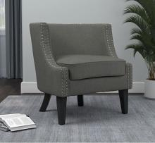 905519 Gracie oaks belvidera grey linen like fabric barreled back accent chair with wood legs