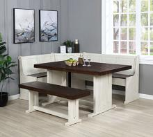 VH-9090 5 pc Gracie oaks merlinda sandy beach two tone finish wood solid pine breakfast nook table and benches