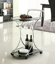 Chrome finish metal and black glass shelves tea serving cart with casters and wine glass holders