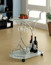 910002 Chrome finish metal and frosted glass shelves tea serving cart with casters and wine glass holders