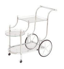 Coaster 910076 Chrome frame and tempered glass shelves tea serving cart with casters and large back wheels