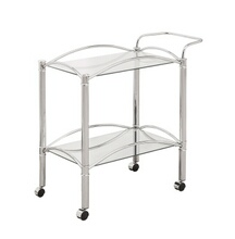 910077 Chrome small rectangular frame tempered glass tea serving cart with casters