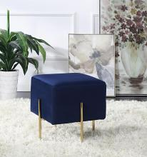 910230 Homegear kiev blue velvet fabric square ottoman footstool