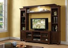 Acme 91105-08 4 pc Canora grey sharma dita walnut finish wood slim profile entertainment center wall unit