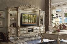 Acme 91330-33 4 pc Astoria grand forde dresden bone finish and gold patina wood entertainment center wall unit