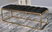 914111 Everly quinn caulksville dark grey velvet ottoman bench with gold frame