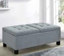 915144 Alcott hill kenyon grey fabric tufted top storage bedroom ottoman bench