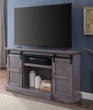 Acme 91618 Admon grand serena grey oak finish wood farmhouse style tv stand with barn door style doors