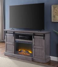 Acme 91618-91617FIR Admon grand serena grey oak finish wood farmhouse style tv stand with barn door style doors and fireplace insert