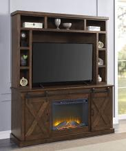 Acme 91628-91617FIR 2 pc Aksel grand serena walnut finish wood farmhouse style tv stand with hutch and fireplace insert