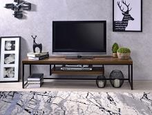 "Acme 91780 Bob weathered oak finish wood black metal 47"" TV stand"