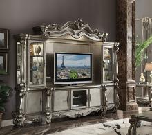Acme 91820-24 4 pc Astoria grand roza versailles antique platinum finish wood entertainment center wall unit