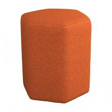 918516 Ebern designs selin orange woven fabric hexagon shaped ottoman stool