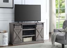 Acme 91860 Bellarosa grey finish wood farmhouse style sliding barn door TV stand