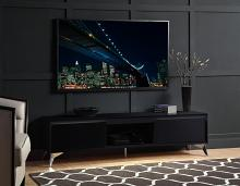 """Acme 91994 Orren ellis raceloma black high gloss finish with LED lighting modern style low rise tv stand 71"""""""