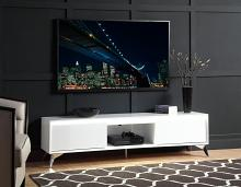 """Acme 91995 Orren ellis raceloma white high gloss finish with LED lighting modern style low rise tv stand 71"""""""