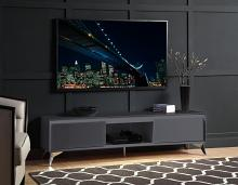 """Acme 91996 Orren ellis raceloma grey high gloss finish with LED lighting modern style low rise tv stand 71"""""""