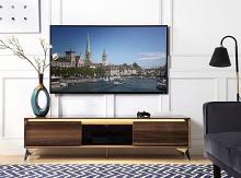 "Acme 91997 Orren ellis raceloma walnut wood grain finish with LED lighting modern style low rise tv stand 71"""