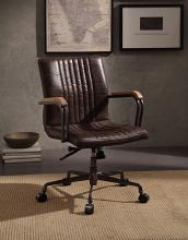 Acme 92028 Joslin distress chocolate top grain leather executive office chair with casters