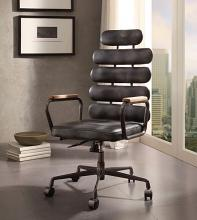 Acme 92107 Corrigan studio ezequiel black top grain distressed leather high back office chair with casters