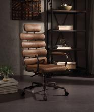 Acme 92108 Calan brown top grain leather retro look high back office chair with casters