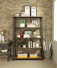 Acme 92200 Itzel antique oak finish wood sandy black metal 5 tier book case shelf unit