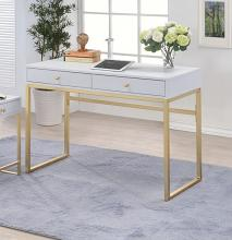 Acme 92312 Coleen white finish wood and brass frame desk
