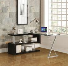Acme 92366 Latitude run phalangere buck clear glass top grey metal finish frame swivel top desk