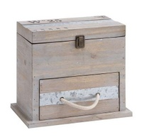 Useful and Spacious Square Shaped Wooden Box with Drawer