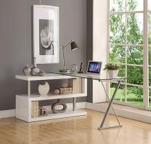 Acme 92368 Buck clear glass top grey metal finish frame swivel top desk