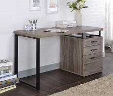 Acme 92390 Mercer 41 ballesteros coy gray oak finish wood and black metal frame desk with filing cabinet