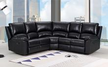 GU-9241BK-3PC 3 pc Latitude run jaidan black leather aire reclining sectional sofa set